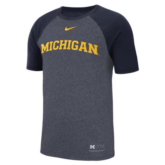 Nike University of Michigan Navy Marled Raglan Sleeve Tee