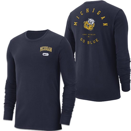 Nike University of Michigan Navy College Vault Heavyweight Elevated Essentials Long Sleeve Tee