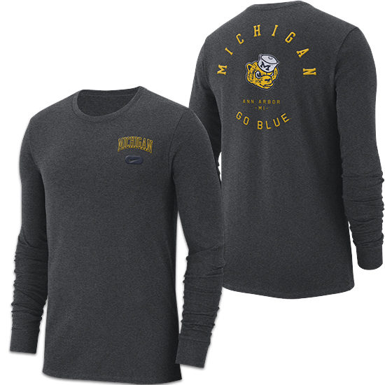 Nike University of Michigan Charcoal Gray College Vault Heavyweight Elevated Essentials Long Sleeve Tee