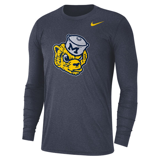 Nike University of Michigan Heather Navy College Vault Wolverine Long Sleeve Triblend Tee