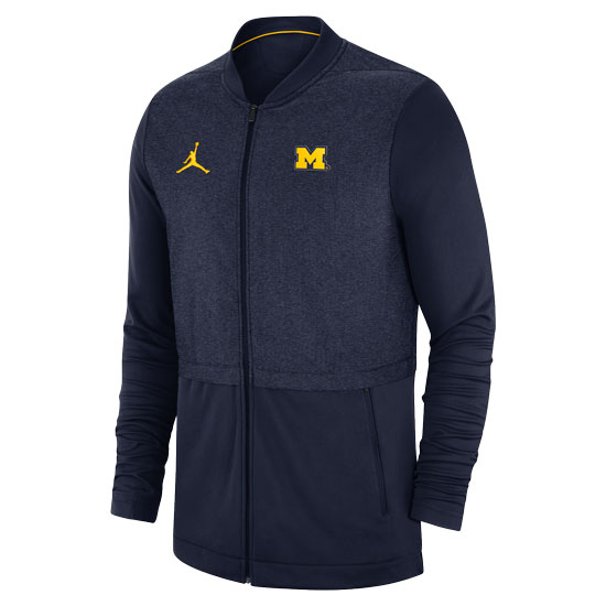 Jordan University of Michigan Football Navy Hybrid Full Zip Jacket