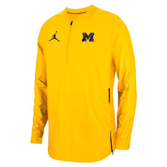Jordan University of Michigan Football Maize 1/2 Zip Lockdown Pullover Jacket