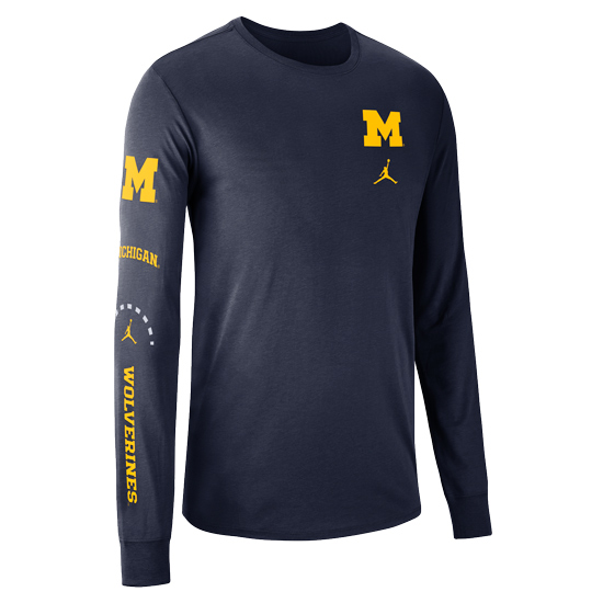 Jordan University of Michigan Basketball Navy Long Sleeve Elevated Dri-FIT Cotton Tee