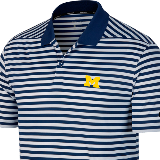 6c9e3fb7 Nike Golf University of Michigan Navy/White Victory Stripe Polo