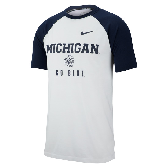 Nike University of Michigan White/Navy College Vault Wolverine Dri-FIT Breathe Raglan Tee