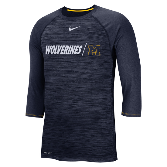 Nike University of Michigan Heather Navy Dri-FIT Legend 3/4 Raglan Sleeve Tee