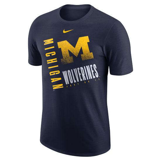 Nike University of Michigan Navy ''Just Do It'' Dri-FIT Cotton Tee