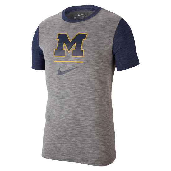 Nike University of Michigan Heather Gray Dri-FIT Cotton Slub Tee