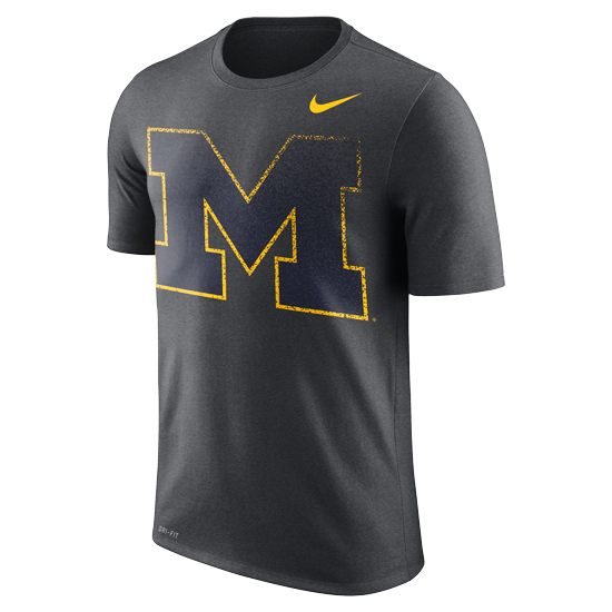 Nike University of Michigan Charcoal Gray ''Fade'' Dri-FIT Legend Tee