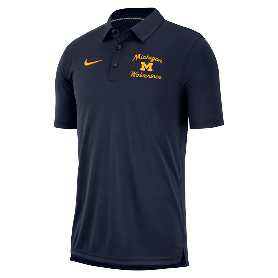 Nike University of Michigan Navy Modern Script Polo