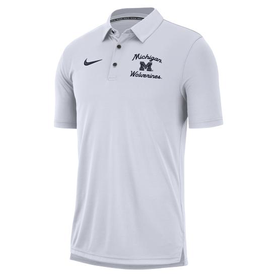 Nike University of Michigan White Modern Script Polo