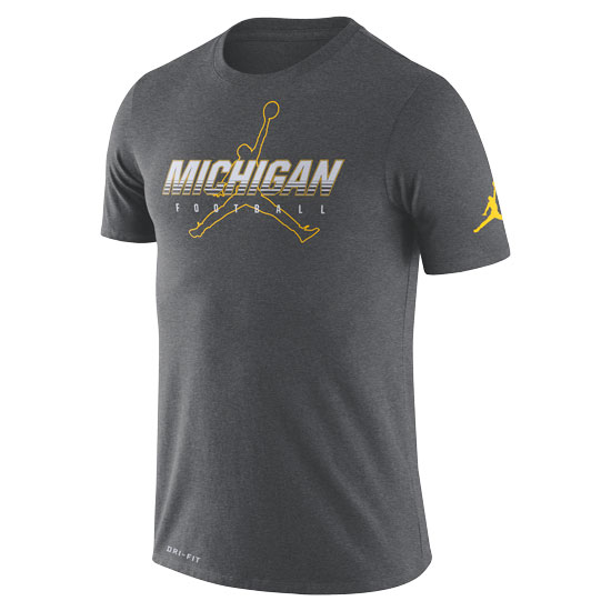 Jordan University of Michigan Football Charcoal Gray Dri-FIT Cotton Facility Tee