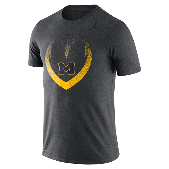 Jordan University of Michigan Football Charcoal Gray Dri-FIT Cotton Icon Tee