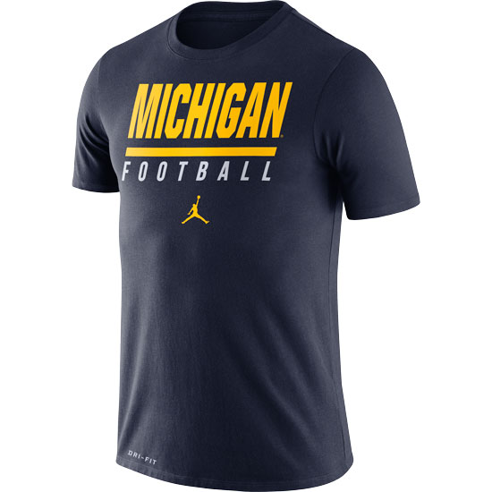 Jordan University of Michigan Football Navy Icon Wordmark Dri-FIT Cotton Tee