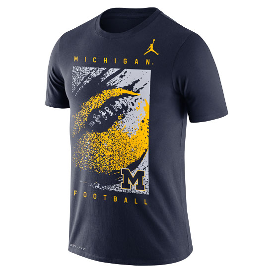 Jordan University of Michigan Football Navy Dri-FIT Cotton FootbALL Tee