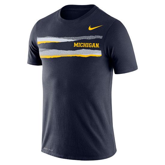 Nike University of Michigan Navy Mezzo Dri-FIT Cotton Tee