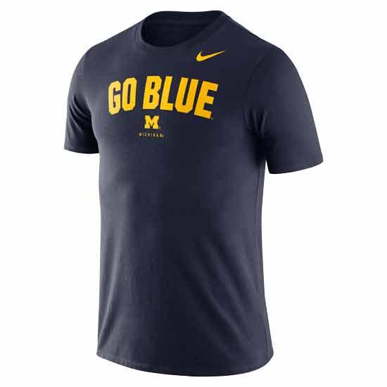 Nike University of Michigan Navy ''Go Blue'' Dri-FIT Cotton Tee