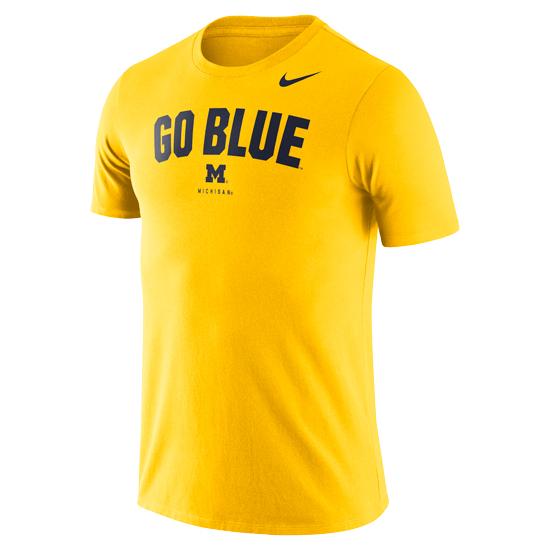 Nike University of Michigan Football Maize Dri-FIT Cotton ''Go Blue'' Tee