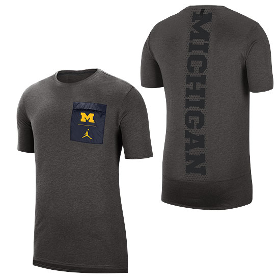 Jordan University of Michigan Football Carbon Gray 23 Tech Cool Dri-FIT Tee