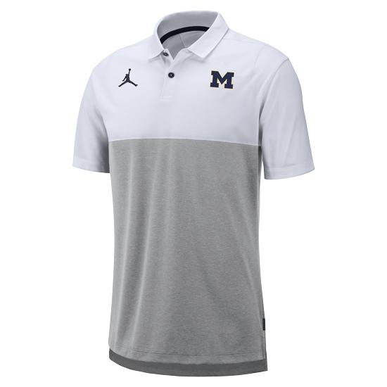 Jordan University of Michigan Football White/ Gray Elite Dri-FIT Polo