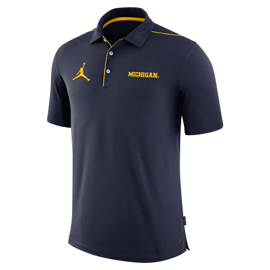 Jordan University of Michigan Football Navy Dri-FIT Team Issue Polo