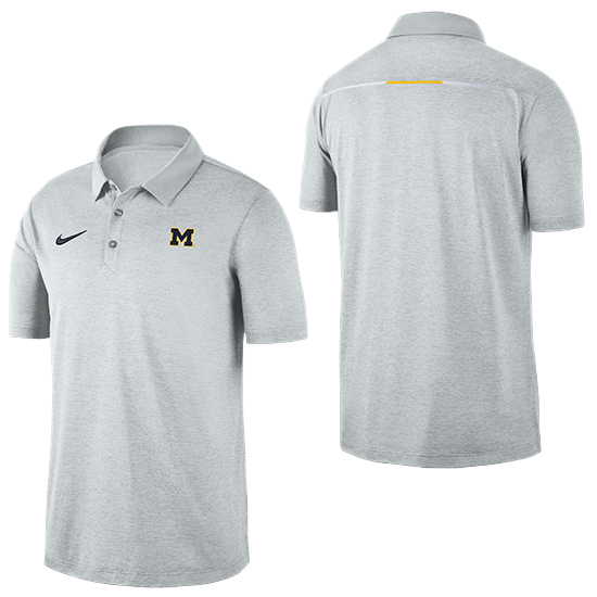 Nike University of Michigan Heather White Dri-FIT Breathe Polo