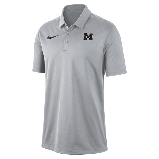 Nike University of Michigan Gray Dri-FIT Franchise Polo