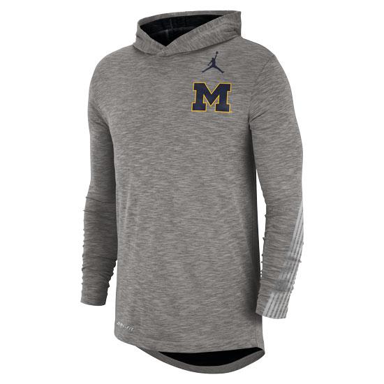 Jordan University of Michigan Football Heather Gray Long Sleeve Dri-FIT Sideline Hooded Tee