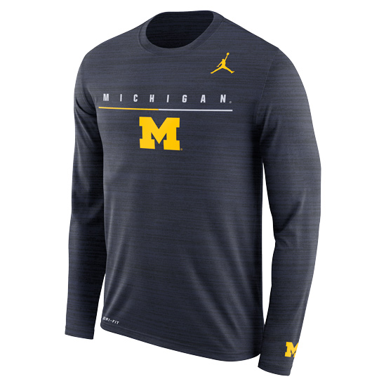 Jordan University of Michigan Football Heather Navy ''Velocity'' Dri-FIT Legend Long Sleeve Tee