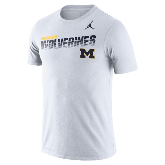 Jordan University of Michigan Football White Dri-FIT Legend Sideline Tee
