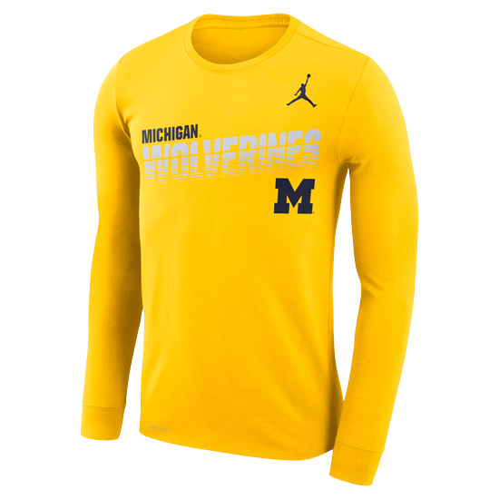 Jordan University of Michigan Football Maize Long Sleeve Dri-FIT Legend Sideline Tee
