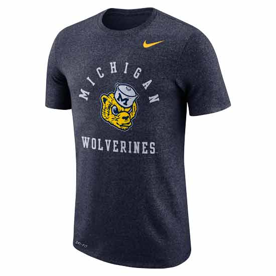 Nike University of Michigan Marled Heather Navy College Vault Wolverine Tee