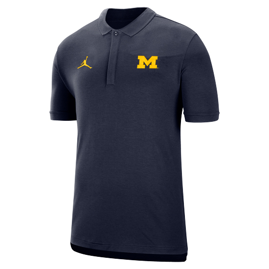 Jordan University of Michigan Football Navy Dri-FIT Coaches Sideline Polo