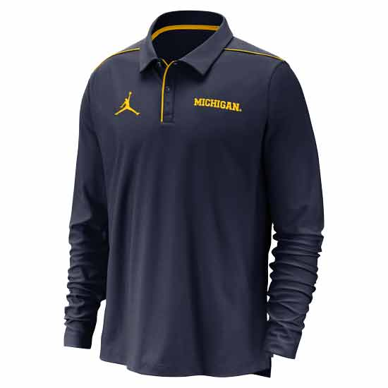 Jordan University of Michigan Football Navy Long Sleeve Dri-FIT Team Issue Polo