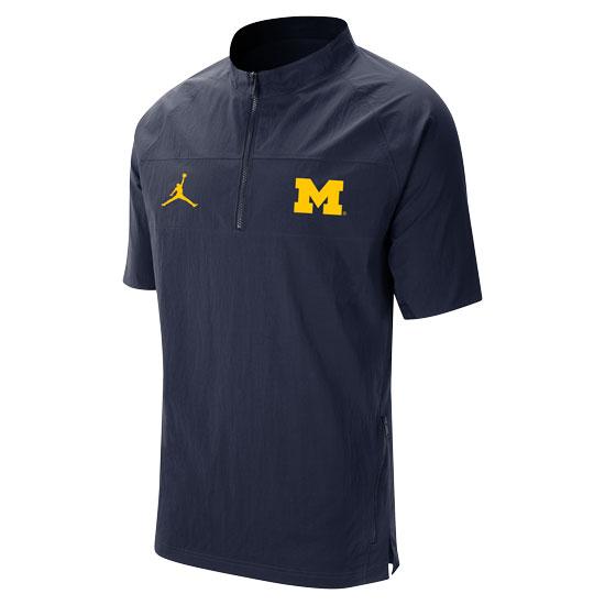 Jordan University of Michigan Football Navy Short Sleeve Sideline Nylon 1/4 Zip Jacket
