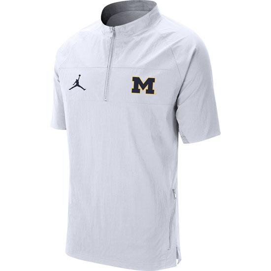 Jordan University of Michigan Football White Short Sleeve Sideline Nylon 1/4 Zip Jacket