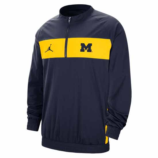 Jordan University of Michigan Football Navy Sideline Nylon 1/4 Zip Jacket