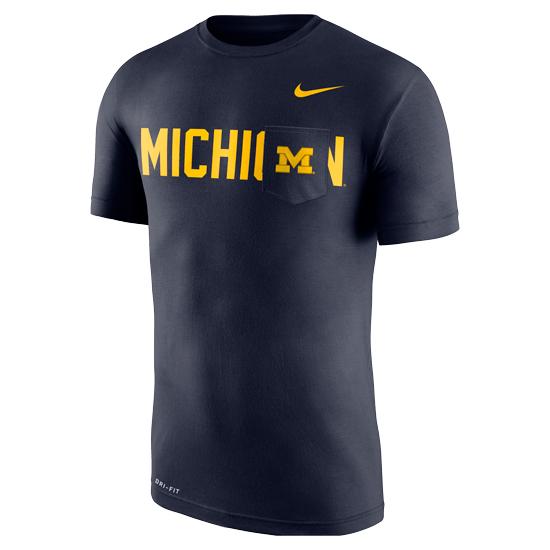 Nike University of Michigan Navy Dri-FIT Cotton Pocket Tee