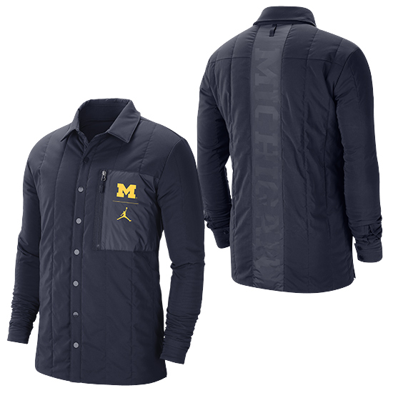 Jordan University of Michigan Football Navy Quilted Midweight Button Front Jacket