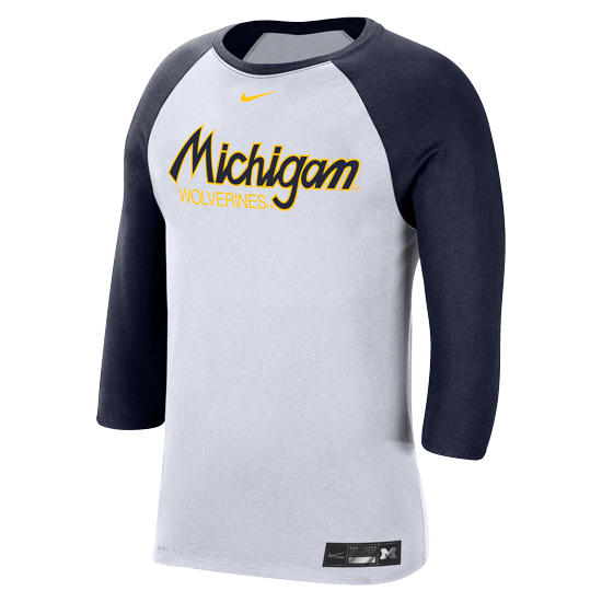 Nike University of Michigan Baseball White/Navy Dri-FIT Cotton 3/4 Sleeve Raglan Tee
