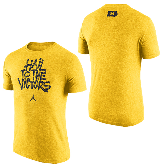 Jordan University of Michigan Basketball Maize Brushstroke ''Hail To The Victors'' Triblend Tee