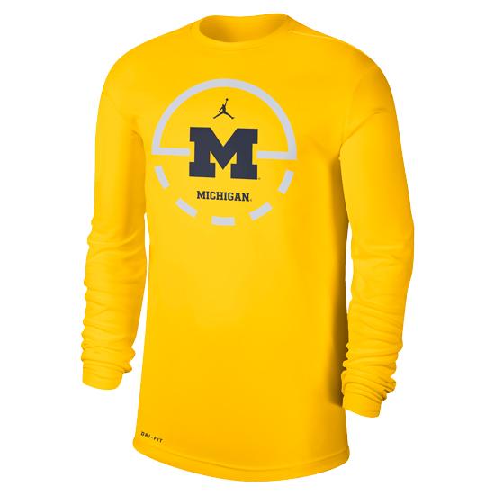 Jordan University of Michigan Basketball Maize Dri-FIT Legend Key 2.0 Long Sleeve Tee