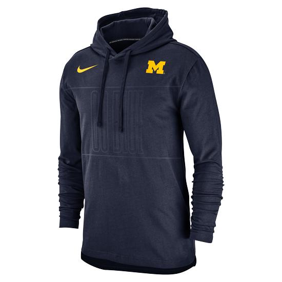 Nike University of Michigan Navy ''Go Blue'' Jersey Club Lightweight Hooded Sweatshirt
