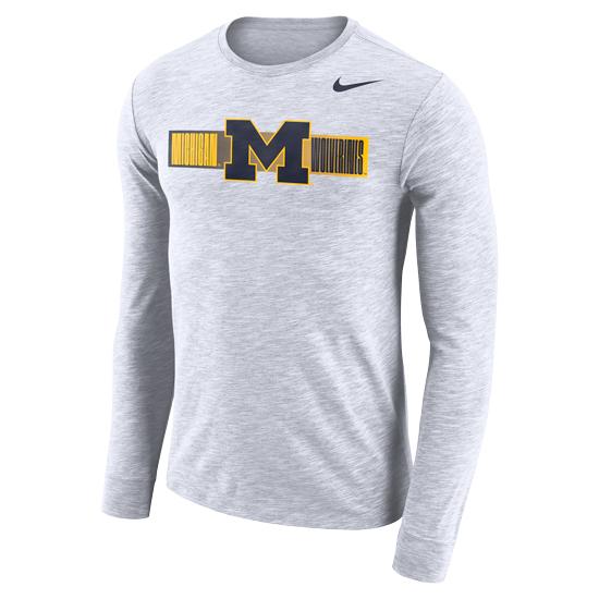 Nike University of Michigan Heather White Dri-FIT Cotton Long Sleeve Slub Tee