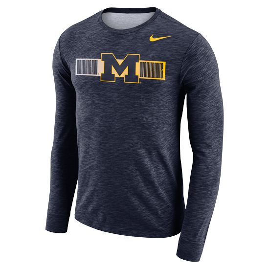 Nike University of Michigan Heather Navy Dri-FIT Cotton Long Sleeve Slub Tee