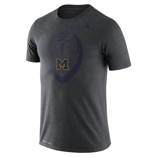Jordan University of Michigan Football Charcoal Gray Dri-FIT Legend Icon Tee
