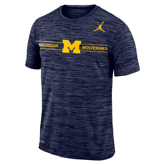 Jordan University of Michigan Football Heather Navy Velocity GFX Dri-FIT Tee
