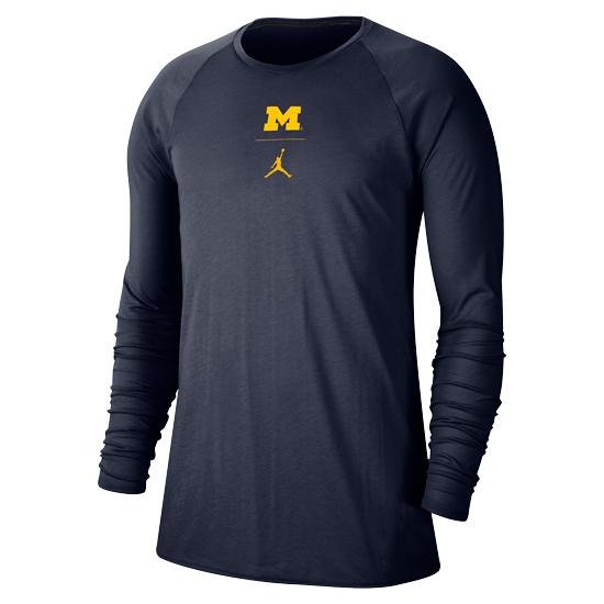 Jordan University of Michigan Football Navy J23 Alpha Dry Long Sleeve Tee