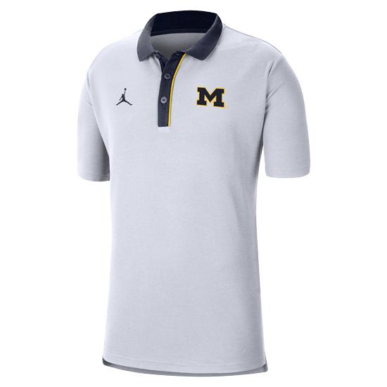 Jordan University of Michigan Football White Team Polo Shirt