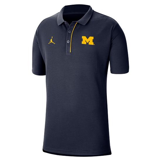 Jordan University of Michigan Football Navy Team Polo Shirt